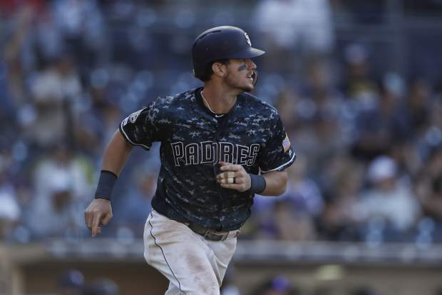 San Diego Padres' Wil Myers watches his walkoff RBI-single during the tenth inning of a baseball game against the Colorado Rockies Sunday, Sept. 8, 2019, in San Diego. (AP Photo/Gregory Bull)