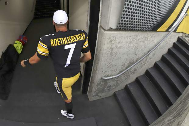 Pittsburgh Steelers quarterback Ben Roethlisberger heads to the locker room as time runs out in a 28-26 loss to the Seattle Seahawks in an NFL football game in Pittsburgh, Sunday, Sept. 15, 2019. Roethlisberger's season is over. The Pittsburgh Steelers quarterback will undergo surgery on his right elbow and be placed on injured reserve, ending the 37-year-old's 16th season just two weeks in. Roethlisberger injured the arm late in the second quarter of Sunday's 28-26 loss to Seattle. (AP Photo/Gene J. Puskar)