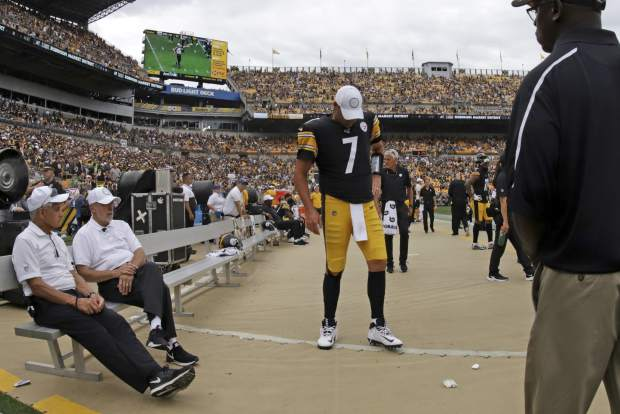 Pittsburgh Steelers quarterback Ben Roethlisberger (7) walks on the sidelines as time runs out in a 28-26 loss to the Seattle Seahawks in an NFL football game in Pittsburgh, Sunday, Sept. 15, 2019. Roethlisberger did not play the second half of the game. (AP Photo/Gene J. Puskar)