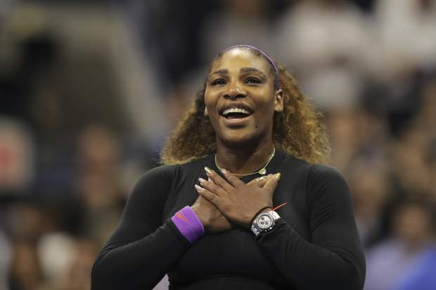 Serena Williams, of the United States, reacts after defeating Elina Svitolina, of Ukraine, during the semifinals of the U.S. Open tennis championships Thursday, Sept. 5, 2019, in New York. (AP Photo/Charles Krupa)