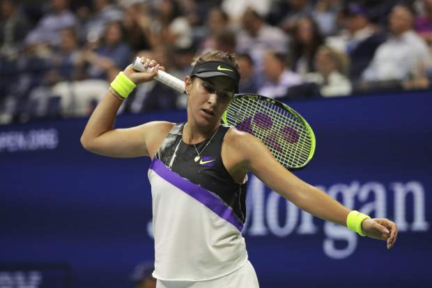 Belinda Bencic, of Switzerland, reacts after scoring a point against Bianca Andreescu, of Canada, during the semifinals of the U.S. Open tennis championships Thursday, Sept. 5, 2019, in New York. (AP Photo/Charles Krupa)