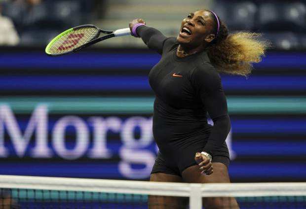 Serena Williams, of the United States, returns a shot to Elina Svitolina, of Ukraine, during the semifinals of the U.S. Open tennis championships Thursday, Sept. 5, 2019, in New York. (AP Photo/Eduardo Munoz Alvarez)