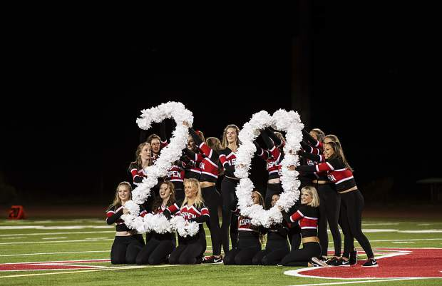 Aspen High School's spirit and dance team honor the graduating class of 2020 at the end of their half-time routine during the Homecoming game in Aspen on Friday, September 27, 2019. (Kelsey Brunner/The Aspen Times)