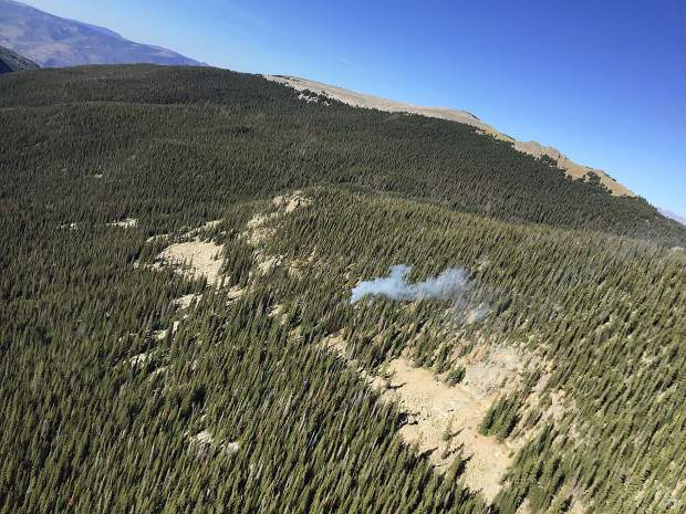 An aerial photo from Monday by Alex Voshell, a member of the helitack crew from Rifle, shows smoke coming from a wildfire above Lost Man Reservoir. It was quickly snuffed by the crew.