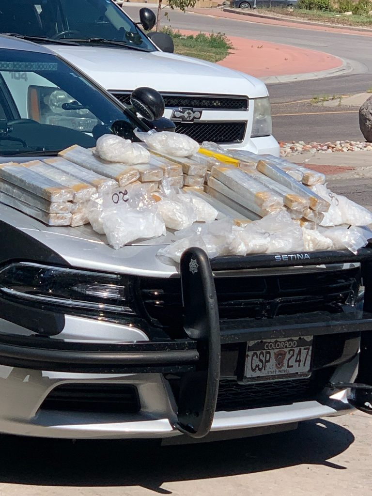Colorado State Patrol arrested a man after finding more than 100 pounds of methamphetamine in his minivan Monday.