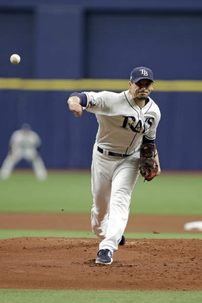 Tampa Bay Rays starting pitcher Charlie Morton (50) throws during the first inning of Game 3 of a baseball American League Division Series against the Houston Astros, Monday, Oct. 7, 2019, in St. Petersburg, Fla. (AP Photo/Chris O'Meara)