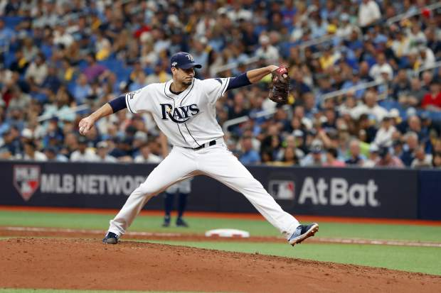 Tampa Bay Rays' Charlie Morton pitches against the Houston Astros in the fifth inning during Game 3 of a baseball American League Division Series, Monday, Oct. 7, 2019, in St. Petersburg, Fla. (AP Photo/Scott Audette)