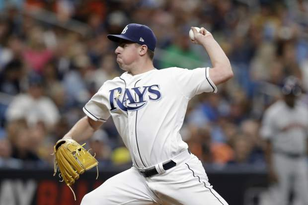 Tampa Bay Rays' Brendan McKay pitches against the Houston Astros in the sixth inning during Game 3 of a baseball American League Division Series, Monday, Oct. 7, 2019, in St. Petersburg, Fla. (AP Photo/Chris O'Meara)