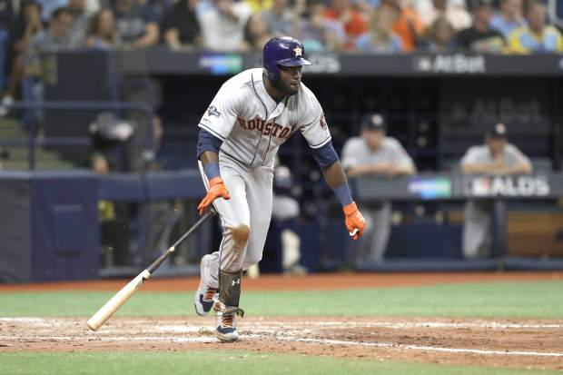 Houston Astros' Yordan Alvarez runs to first during Game 3 of a baseball American League Division Series against the Tampa Bay Rays, Monday, Oct. 7, 2019, in St. Petersburg, Fla. (AP Photo/Chris O'Meara)