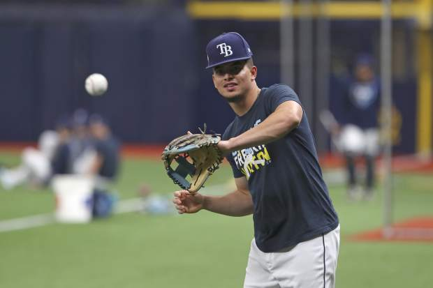 Tampa Bay Rays shortstop Willy Adames warms during of Game 3 of a baseball American League Division Series against the Houston Astros, Monday, Oct. 7, 2019, in St. Petersburg, Fla. (AP Photo/Scott Audette)