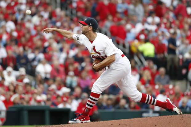 St. Louis Cardinals starting pitcher Adam Wainwright throws during the second inning in Game 3 of a National League Division Series baseball game against the Atlanta Braves Sunday, Oct. 6, 2019, in St. Louis. (AP Photo/Jeff Roberson)
