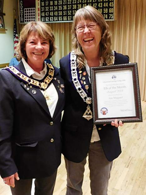 Elks ER Kathleen Kline, left, and award recipient Ann Maggard