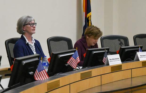 District 1 CMC trustee candidates Mary Nelle Axelson and Marianne Virgili at the 2019 Fall Issues and Answers Forum held at the Glenwood Springs City Hall on Monday evening.