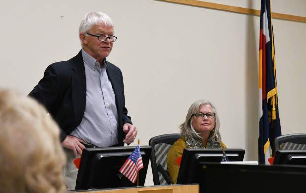CMC board of trustee District 6 candidates Bob Hartzell and Christine Whittington at the 2019 Fall Issues and Answers Forum held at the Glenwood Springs City Hall on Monday evening.