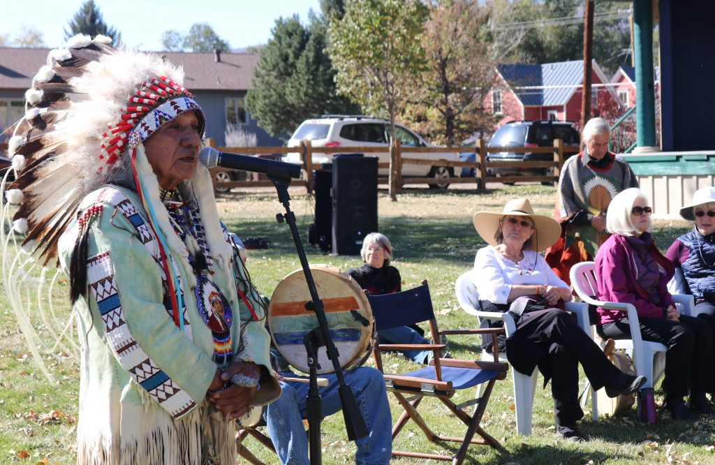 Ute tribe elder Roland McCook spoke to a crowd at Sopris Park during Carbondale's first Indigenous Peoples' Day celebration.