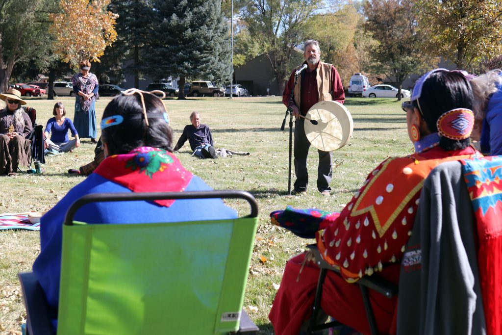 Carbondale resident John Hoffman spoke of gratitude and joy as he played a drum to kick off the Indigenous Peoples' Day celebration.