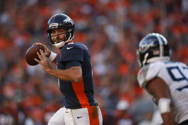 Denver Broncos quarterback Joe Flacco throws a pass during the second half of an NFL football game against the Tennessee Titans, Sunday, Oct. 13, 2019, in Denver. (AP Photo/David Zalubowski)
