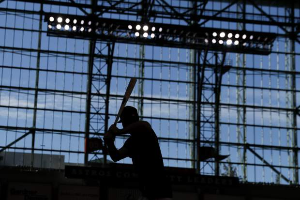 Houston Astros right fielder Kyle Tucker prepares to take batting practice for baseball's World Series Monday, Oct. 21, 2019, in Houston. The Houston Astros face the Washington Nationals in Game 1 on Tuesday. (AP Photo/Matt Slocum)