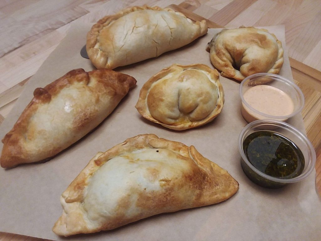 Different empanada flavors are folded in different ways at Baires Empanadas.