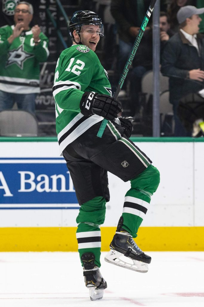 Dallas Stars center Radek Faksa (12) celebrates after scoring a goal during the first period of an NHL hockey game against the Colorado Avalanche in Dallas, Tuesday, Nov. 5, 2019. (AP Photo/Sam Hodde)