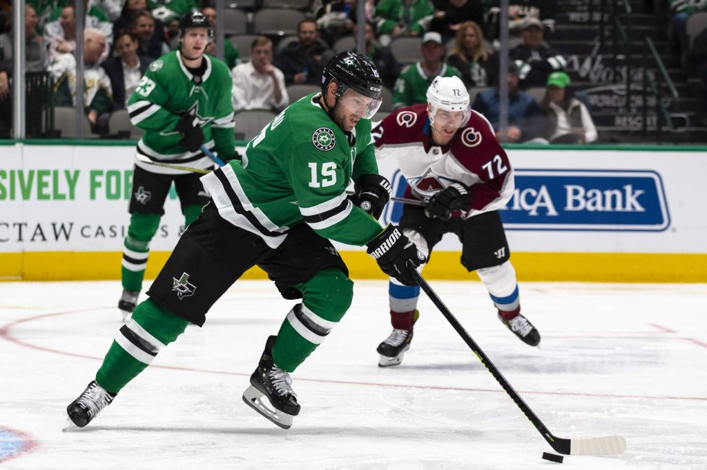 Dallas Stars left wing Blake Comeau (15) skates with the puck during the second period of an NHL hockey game against the Colorado Avalanche in Dallas, Tuesday, Nov. 5, 2019. (AP Photo/Sam Hodde)