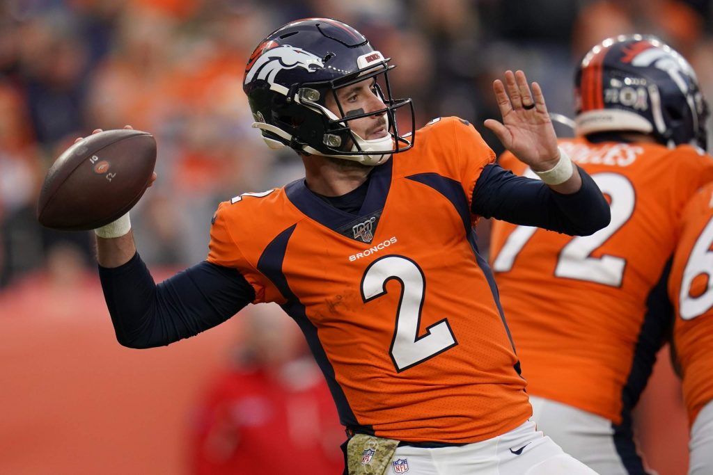 Denver Broncos quarterback Brandon Allen (2) throws against the Cleveland Browns during the second half of NFL football game, Sunday, Nov. 3, 2019, in Denver. (AP Photo/Jack Dempsey)