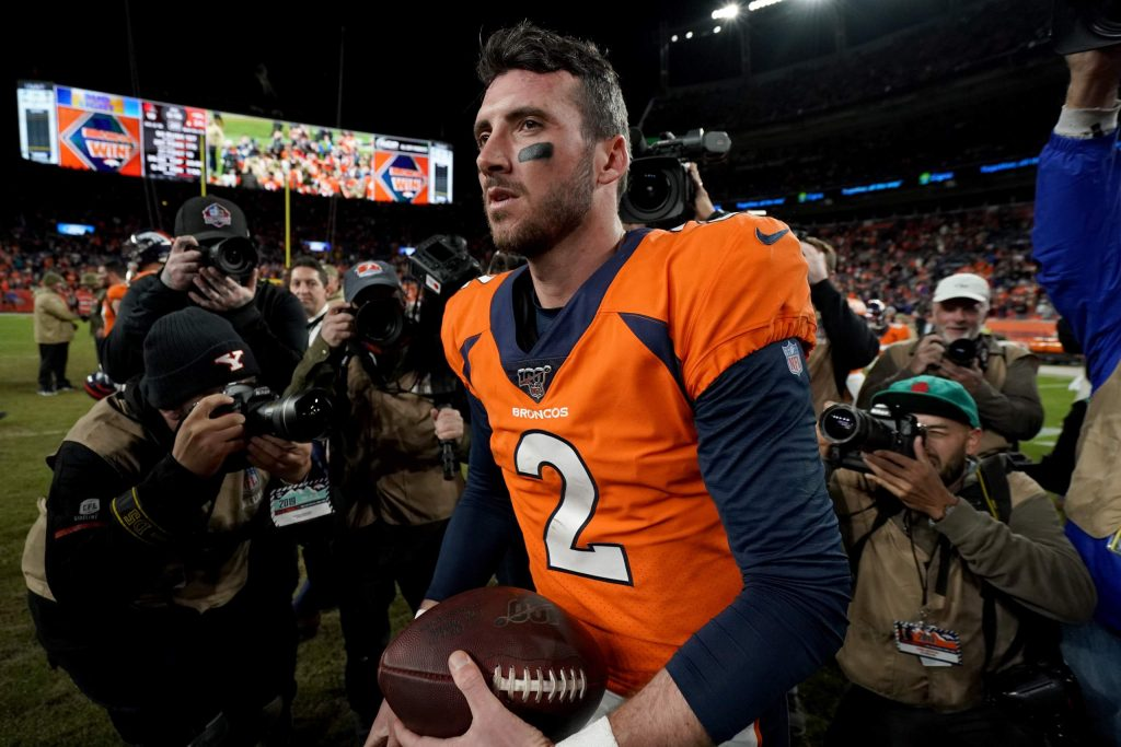 Denver Broncos quarterback Brandon Allen (2) leaves the field after an NFL football game against the Cleveland Browns, Sunday, Nov. 3, 2019, in Denver. The Broncos won 24-19. (AP Photo/Jack Dempsey)