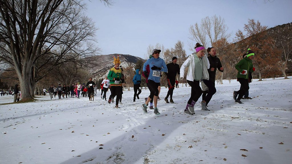 Runners make their way up the hill at the Glenwood Springs Golf Club during the 33rd annual Glenwood Springs Turkey Day 5K.