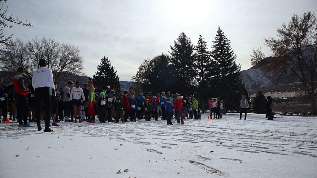 Runners line the starting line at the 33rd annual Turkey Day 5K on Thursday.