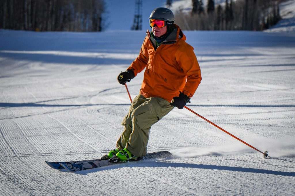 A skier makes his way down Midway on opening morning at Sunlight Mountain Resort on Dec. 6th.