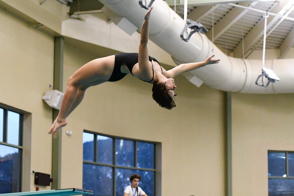 Celia Scruton of the Glenwood Springs High School dive team competes at the Demons home meet on Wednesday evening.