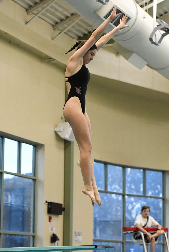 Abby Scruton of the Glenwood Springs High School dive team competes at a home meet on Wednesday evening.