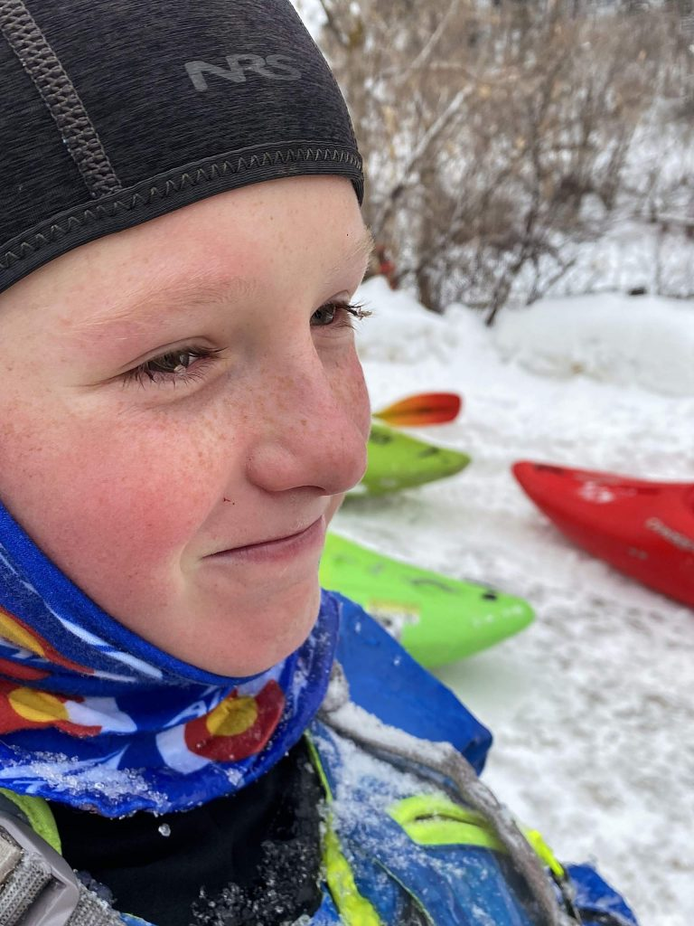 Bryce Smaic, 12, exited the water with ice in his eyelashes and a smile on his face on Tuesday. It was his first time participating in the annual New Year's Day event.