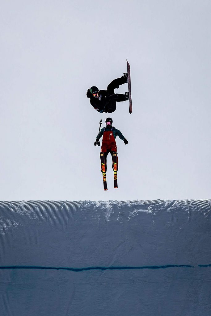 Darcy Sharpe competes in men's snowboard big air elimination round at X Games Aspen on Friday, Jan. 24, 2020, at Buttermilk Ski Area in Aspen Snowmass, Colo. Sharpe placed second in the elimination round and will be back for the finals on Saturday. (Liz Copan/Summit Daily News via AP)