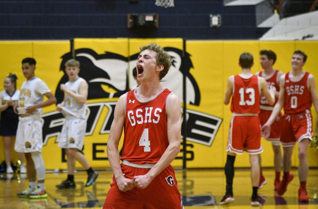 Glenwood's Mitchell Burt celebrates the Demons victory over cross county rival Rifle Friday. After a back and forth game the Demons prevailed 49-45, beating the Bears in Rifle.