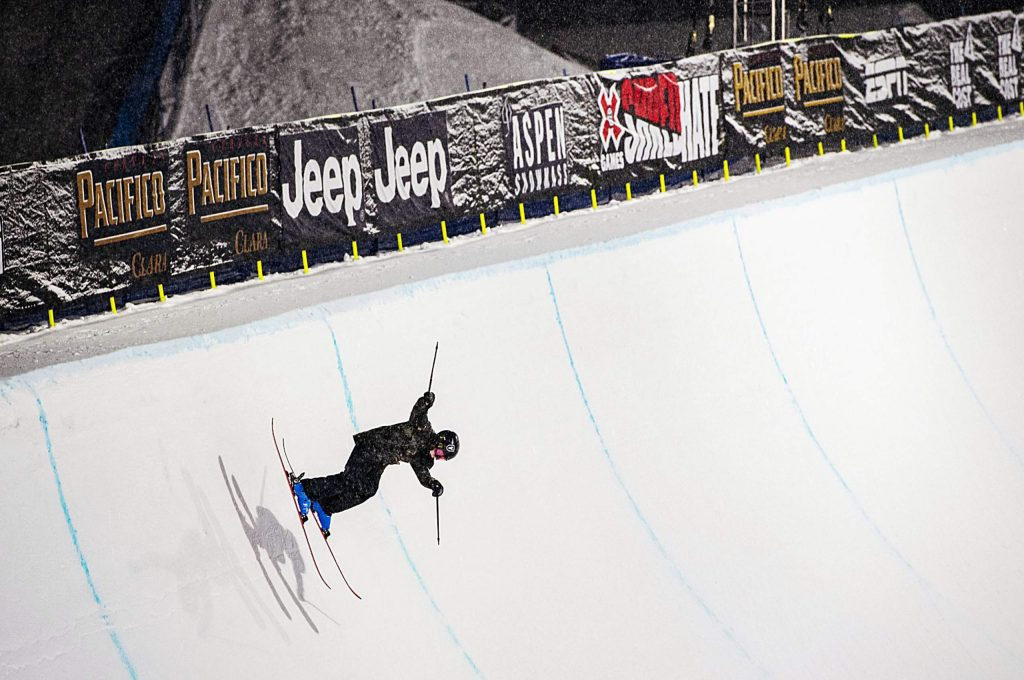 Hunter Maytin, 12, practices in the superpipe on Tuesday, Jan. 21, 2020. Maytin is in the AVSC Freestyle Team 1 program and lives in Aspen. (Kelsey Brunner/The Aspen Times)
