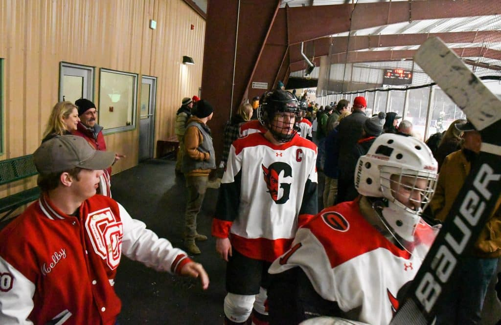 Fans cheer on the Glenwood Springs Demons as they head back onto the ice for the third period of play on Tuesday night against the Summit Tigers. Glenwood Springs Demon Hockey 2020