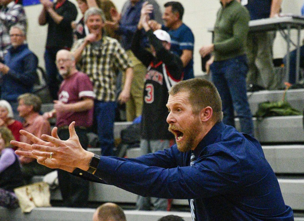Coal Ridge coach Paul Harvey reacts as the Titans turn over the ball late in the overtime period against Aspen Tuesday in New Castle.