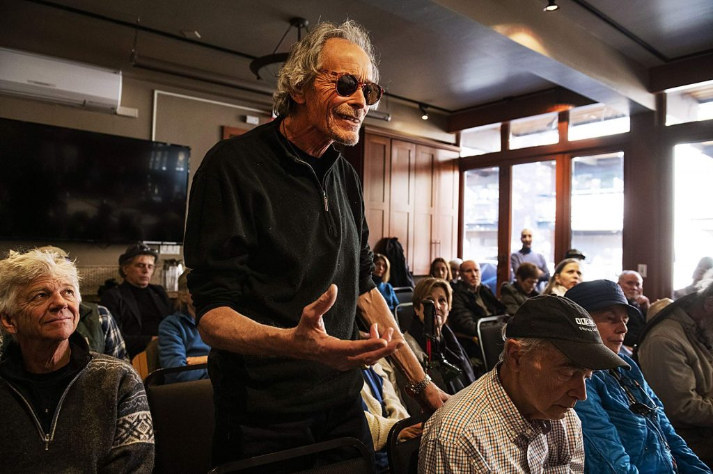 Dan Sadowski addresses the Aspen Public Radio board of directors with his opinions about the recent decision to eliminate music during a meeting at the Aspen Square Condominiums Hotel on Thursday, Feb. 20, 2020. (Kelsey Brunner/The Aspen Times)