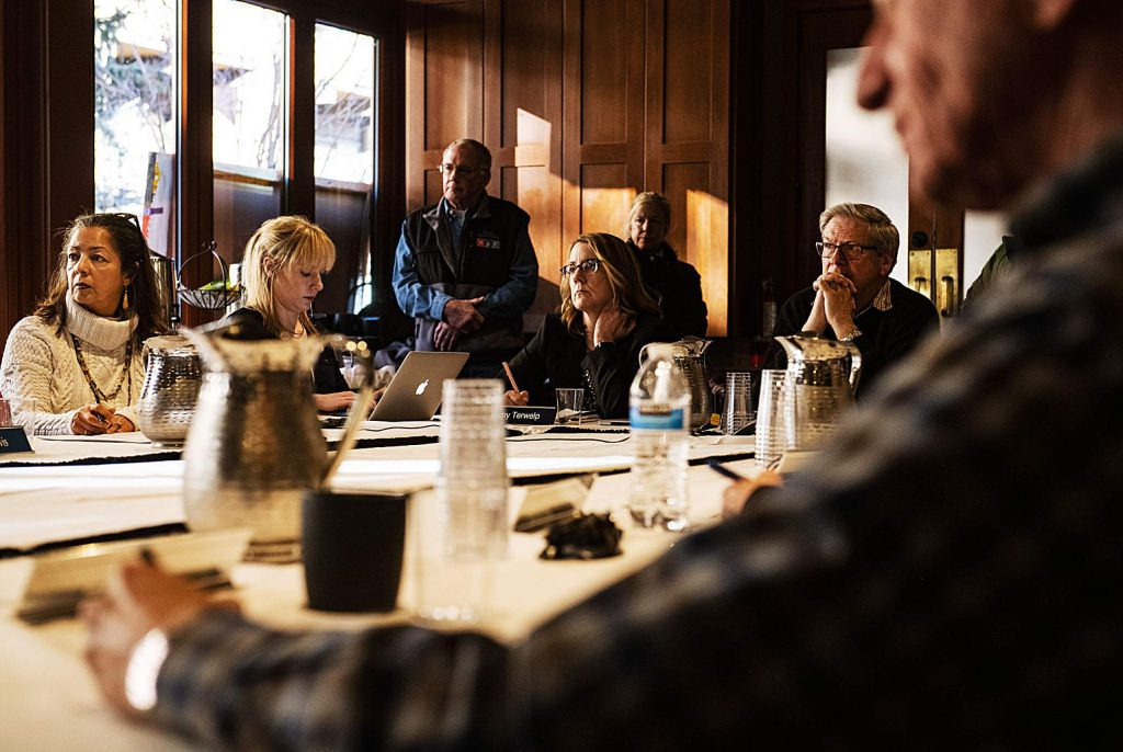 The Aspen Public Radio board of directors listen to peoples suggestions and concerns about a recent decision to eliminate music on Thursday, Feb. 20, 2020. (Kelsey Brunner/The Aspen Times)