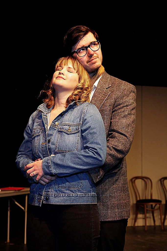 "The newest play from Sopris Theatre Company at Colorado Mountain College, ""Private Eyes,"" opens Feb. 14 and runs through Feb. 23. Left to right in this dress rehearsal photo are Stella von Dedenroth and Joshua Adamson."