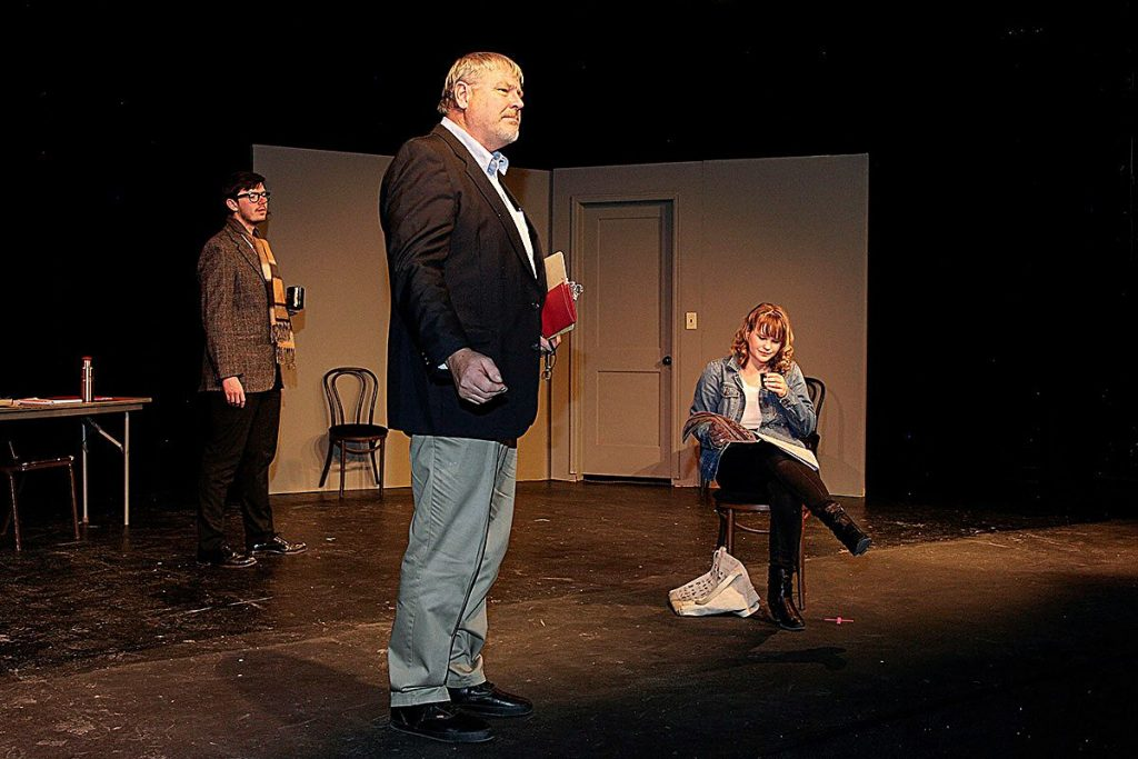 "The newest play from Sopris Theatre Company at Colorado Mountain College, ""Private Eyes,"" opens Feb. 14 and runs through Feb. 23. Left to right in this dress rehearsal photo are Joshua Adamson, Michael Banks and Stella von Dedenroth."