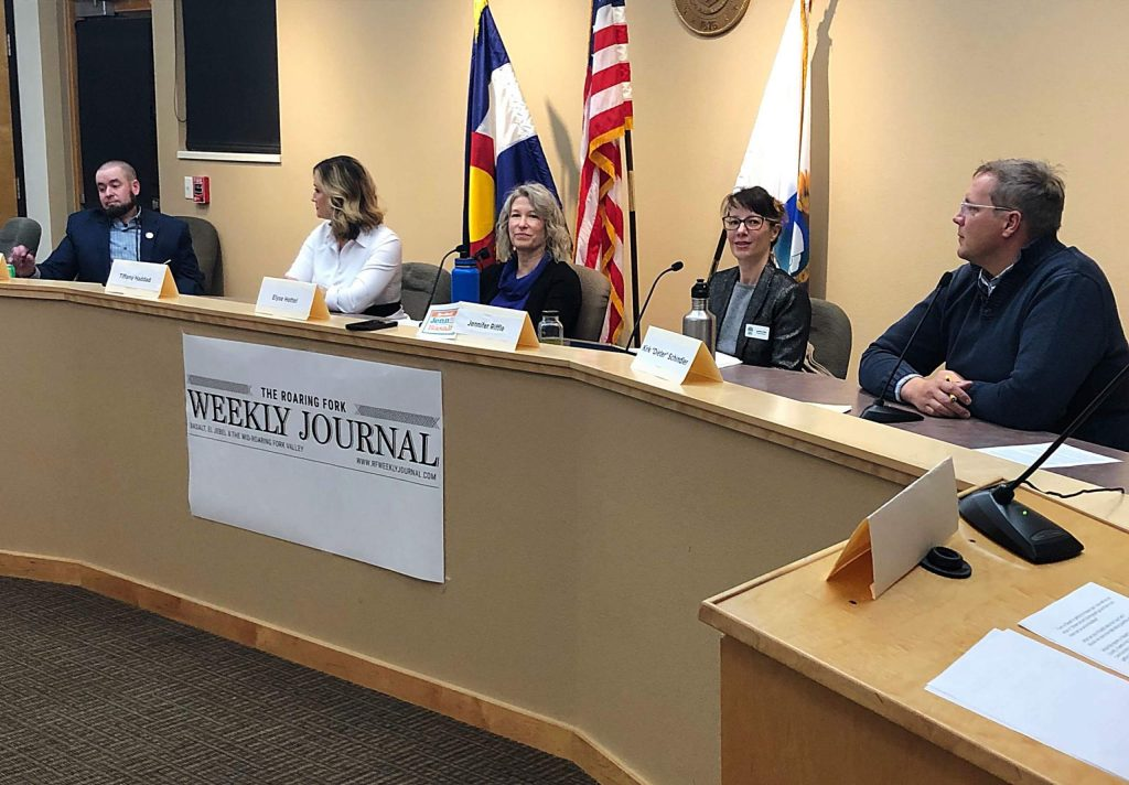 Basalt town council candidate Glenn Drummond (left) finishes answering a question at Monday's forum while candidates Tiffany Haddad, Elyse Hottel, Jennifer Riffle and Dieter Schindler look on. Candidate David Knight was on a business trip out of state but participated via a live feed.