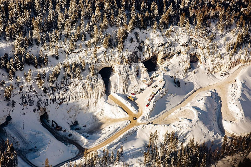 Vehicles and machinery were parked outside the entrances to the marble galleries of the Pride of America Mine in January. The quarry operators Colorado Stone Quarries are facing scrutiny from federal and state agencies after an October diesel spill.