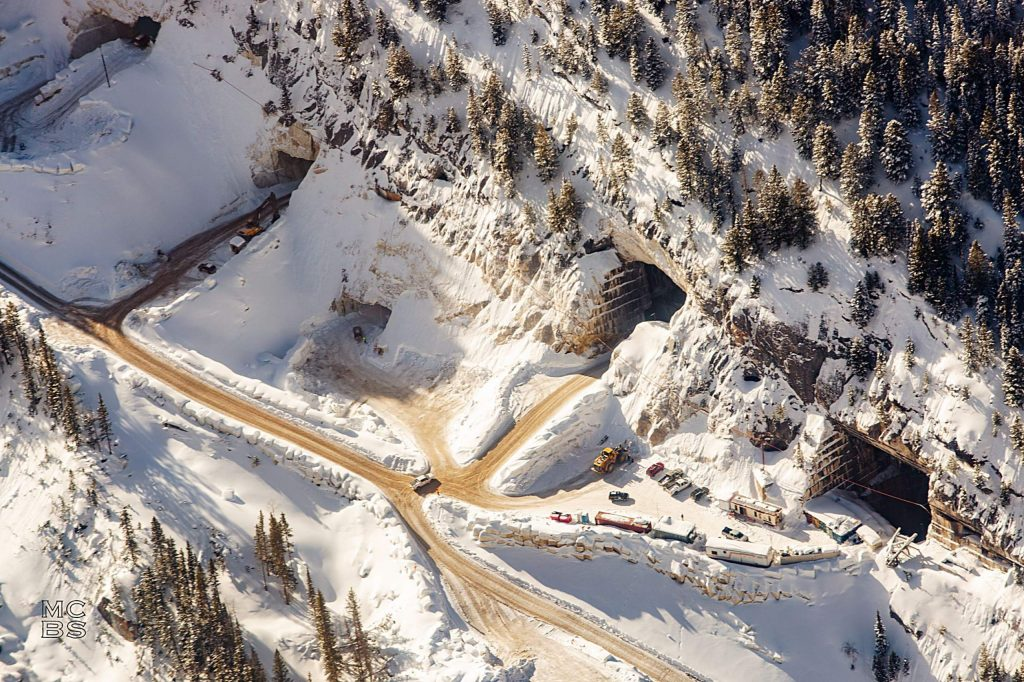 The Pride of America Mine, perched near Yule Creek three miles from the town of Marble, as seen from the air in January. According to quarry operators Colorado Stone Quarries, there are enough marble reserves in the quarries six galleries to continue mining at the current rate for more than 100 years.