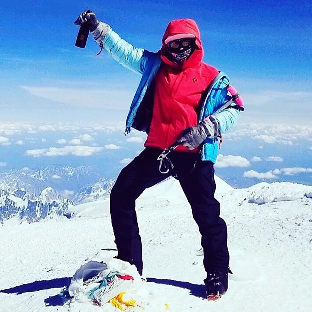 Meghan Buchanan at the summit of Denali. She's shooting for the Grand Slam of Adventure, the Seven Summits and the North and South poles.