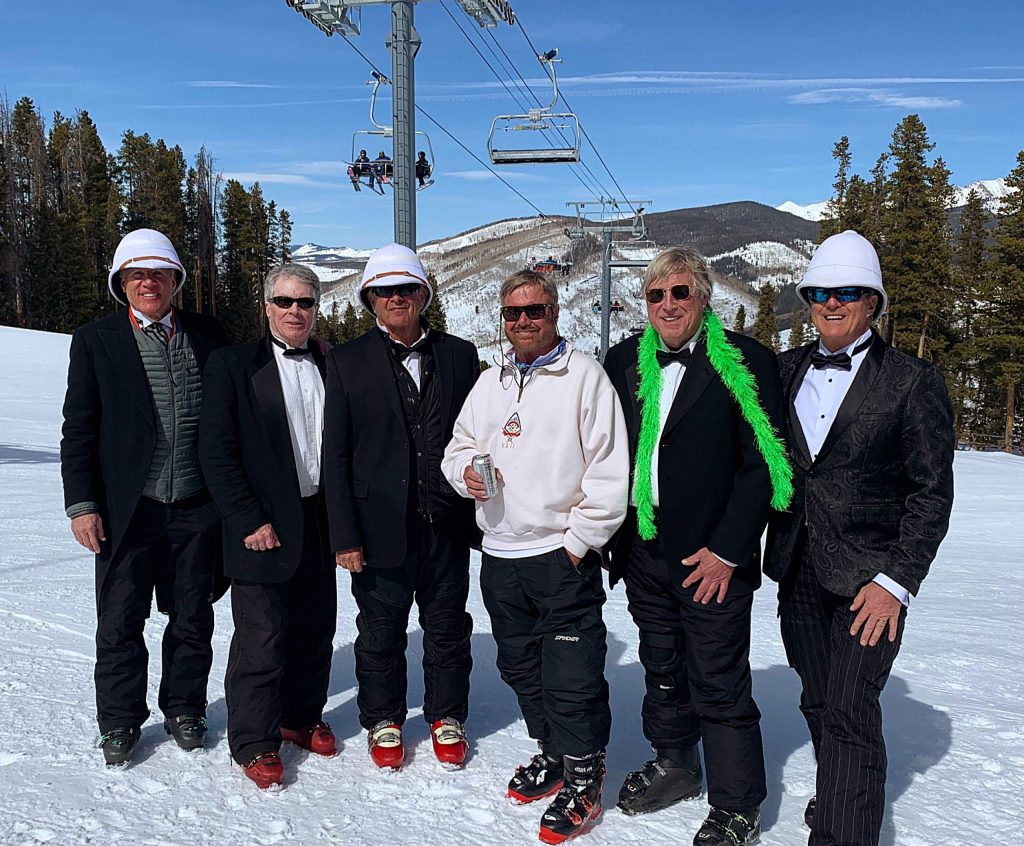 This is March 6 during the 35th annual Tuxedo Ski Day on Vail Mountain and is Rod Powell's last public appearance. Powell did not miss a Tuxedo Ski Day in three and a half decades. That's him in the middle with the white jacket and no hat. As you can see he is happy with this hair. His lack of it is one reason you rarely saw him without a hat.