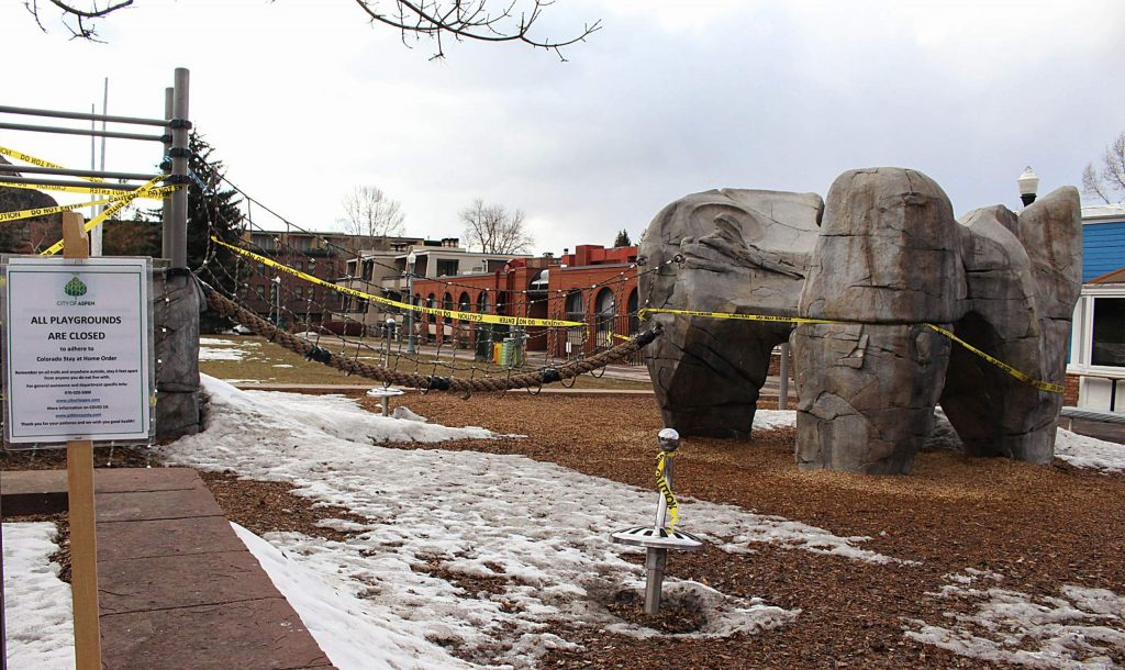A view of the playground at Wagner Park that was closed due to the COVID-19 outbreak, March 30, 2020. (Maddie Vincent/The Aspen Times)