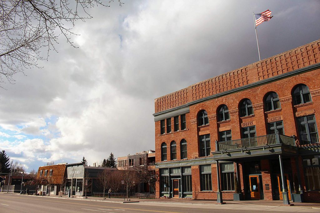 A view of an empty Hotel Jerome on Main Street in Aspen, March 30, 2020. (Maddie Vincent/The Aspen Times)