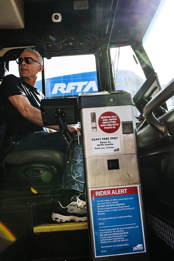 A rider alert is posted on the fare box of RFTA buses on Thursday, March 12, 2020. The alert urges passengers to not get on the bus if they are experiencing respiratory issues. (Kelsey Brunner/The Aspen Times)